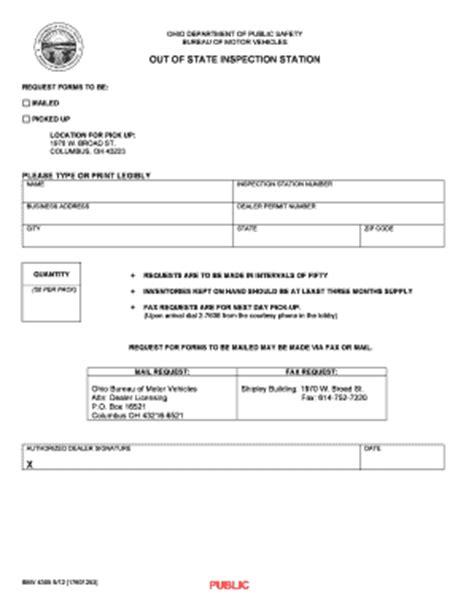 bureau inspection automobile ohio department of motor vehicles forms vehicle ideas