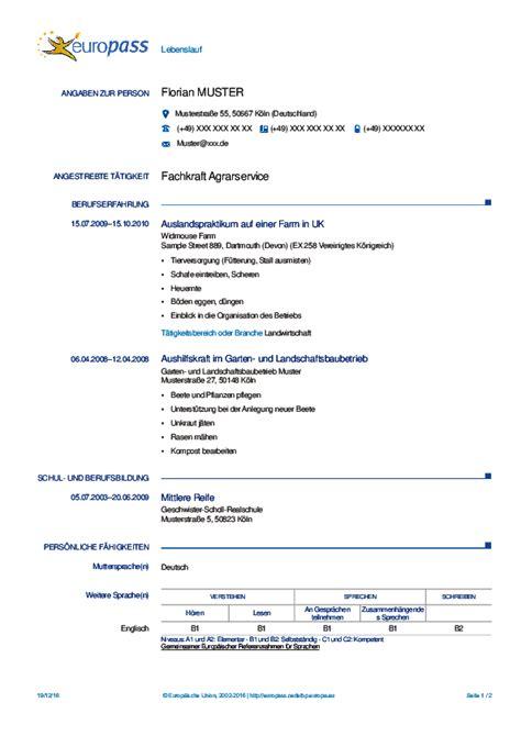 Europã Ischer Lebenslauf by Der Europass Ausgef 252 Llte Beispiele