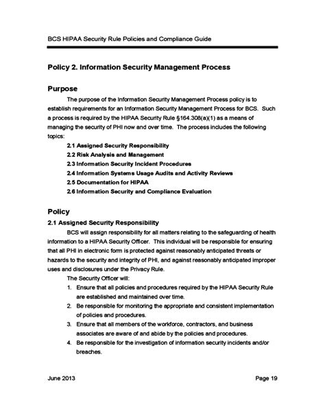 compliance policy template bcs hipaa security rule policies and compliance guide free