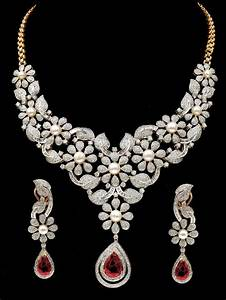 Fine Party / Bridal Wear Necklace + Earrings Set With Ruby ...