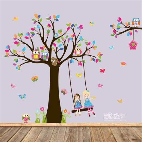 Wall decal tree set with swing elephant owls butterflies