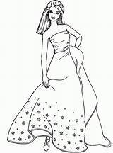 Coloring Barbie Cartoon Pages Ball Gown Ages Popular Coloringhome sketch template