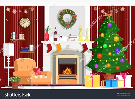 Colorful Vector Christmas Room Interior Design With