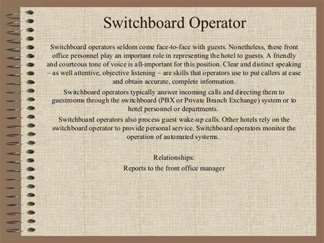 Telephone Operator Description Duties by Organigrama De Funciones En Front Desk