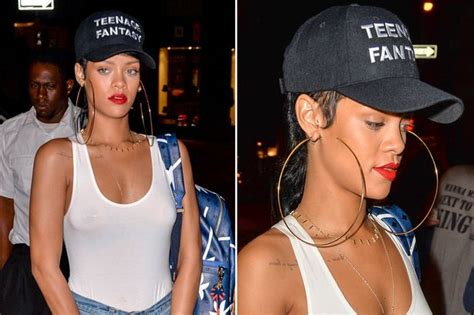 Rihanna Breast Nipple Piercing On Show In See Through White Top Irish Mirror Online
