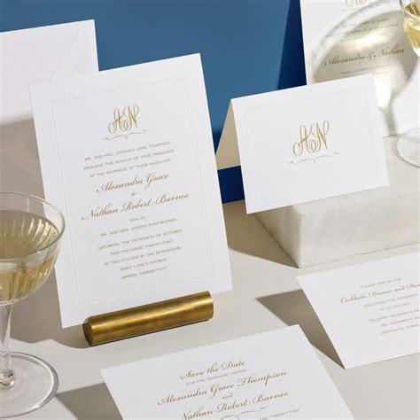 White Beaded Border Elegant Wedding Invitation
