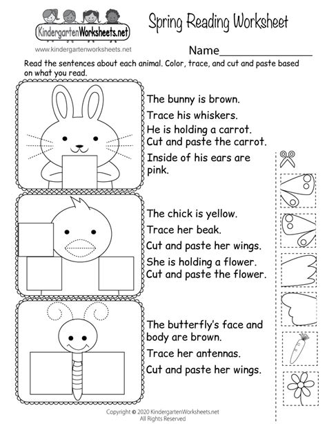 printable spring reading worksheet  kindergarten