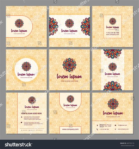 brochure flyer template set mandala design stock vector