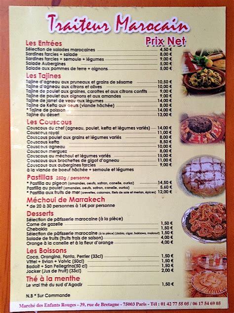 menu cuisine marocaine infos sur image carte cuisine marocaine arts et voyages