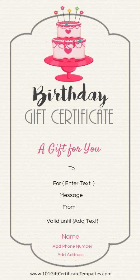 birthday gift certificate templates  birthday gifts