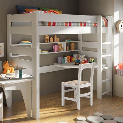 lit mezzanine avec bureau et étagères classique