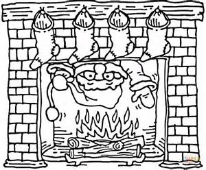 santa coming    christmas fireplace coloring page  printable coloring pages