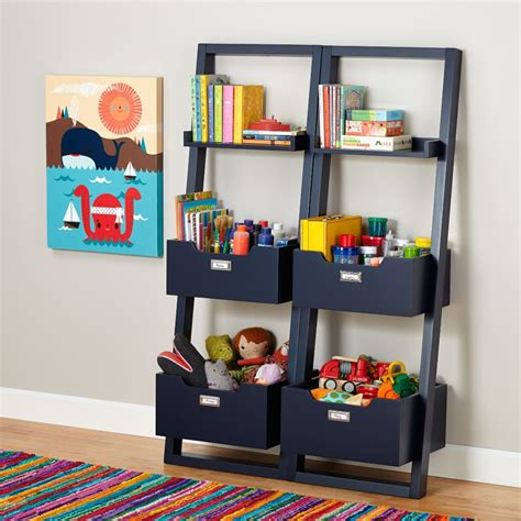 Blue Bookcases by Sloane Leaning Bookcase Midnight Blue The Land