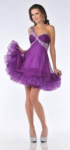 Purple Jeweled One Shoulder Strap Short Prom Dress