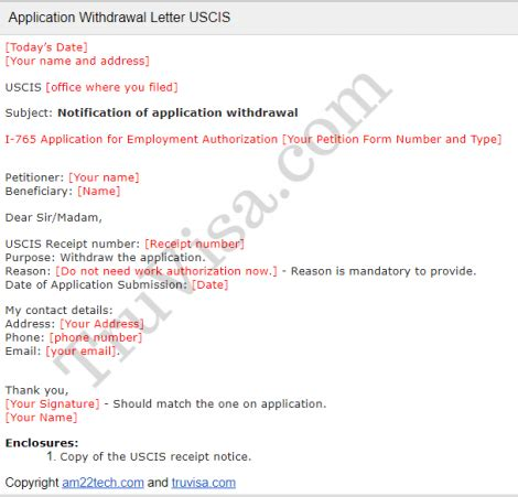 uscis sample application withdrawal letter  tech