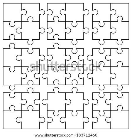 jigsaw puzzle blank  elements  stock vector