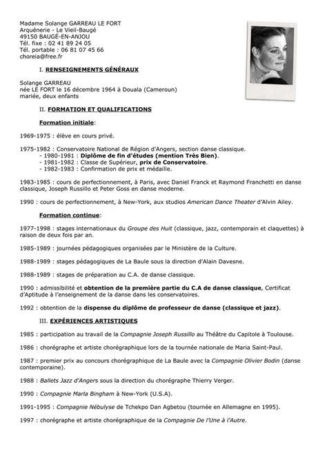 Modèle De Curriculum Vitae Professionnel by Modele Cv Danse