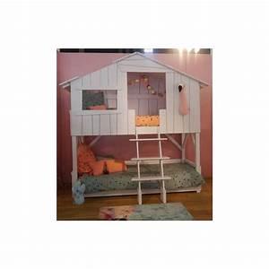 Lit Cabane Bebe : lit enfant cabane en bois avec escalier ~ Teatrodelosmanantiales.com Idées de Décoration