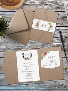 eco kraft pocket fold floral antler wedding invitation With wedding invitation wallets diy