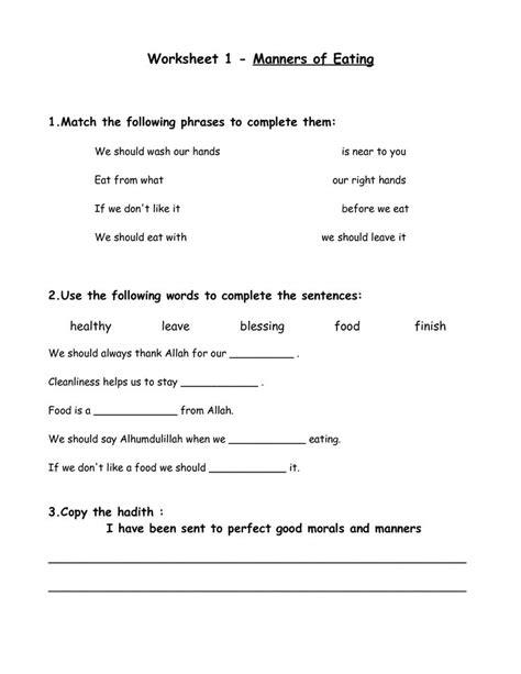 table manners printable worksheets worksheet 1 manners of eating manners table manners