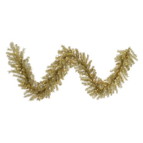 9 ft x 14 in gold silver tinsel prelit garland