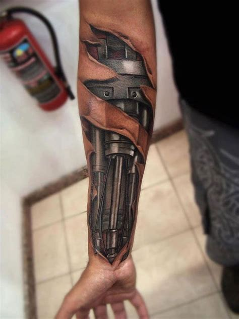 android machine tattoo design  hand  men ink
