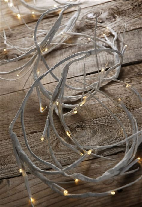 white branch garland led  battery operated warm white