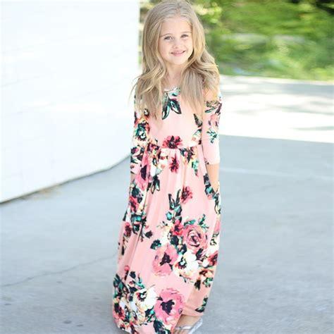 newest girl dress kids winter long sleeve floral