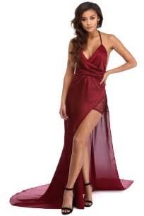 sleeve wrap dress burgundy formal dress