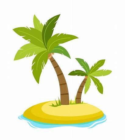 Palm Tree Cartoon Island Tropical Vector Beach
