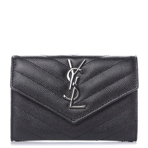 saint laurent grain de poudre matelasse chevron small monogram envelope wallet black