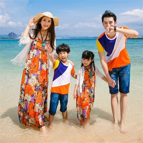 2016 Beach Vacation Family Matching outfit set V neck Chiffon Floral Suspender Dress Mother Girl ...