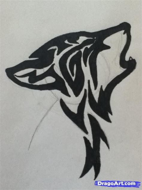 draw  howling tribal wolf step  wolf face