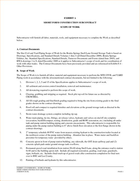 construction scope of work template 11 construction scope of work template authorizationletters org
