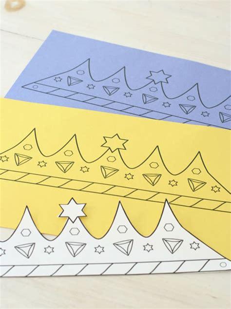 printable purim crown coloring crafts jewish kids