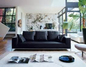 black leather sofa black leather sofa interior design ideas