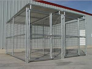 heavy duty steel dog kennel 2 run 539x1039x639h w roof With metal dog kennel and run