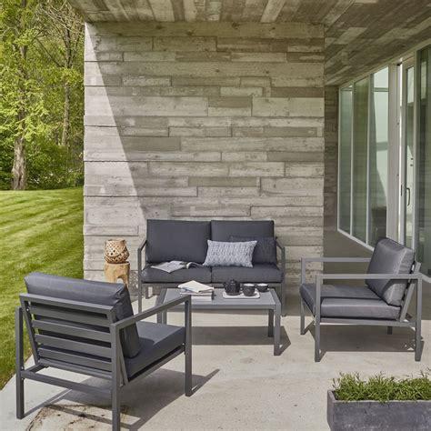 Salon bas de jardin Niagara aluminium gris 4 personnes | Leroy Merlin