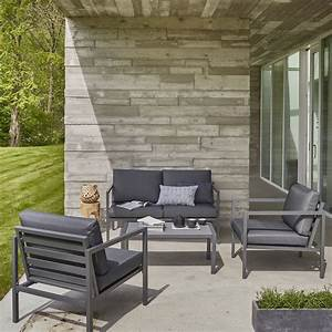 Salon Aluminium De Jardin : salon bas de jardin niagara aluminium gris 4 personnes ~ Edinachiropracticcenter.com Idées de Décoration