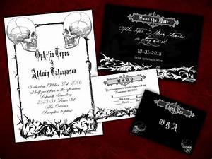 two souls gothic halloween wedding invitation save the With free printable gothic wedding invitations