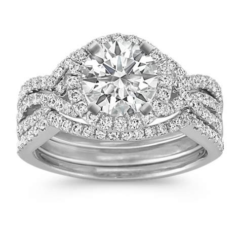 halo infinity diamond triple band wedding with pav 233 setting shane co
