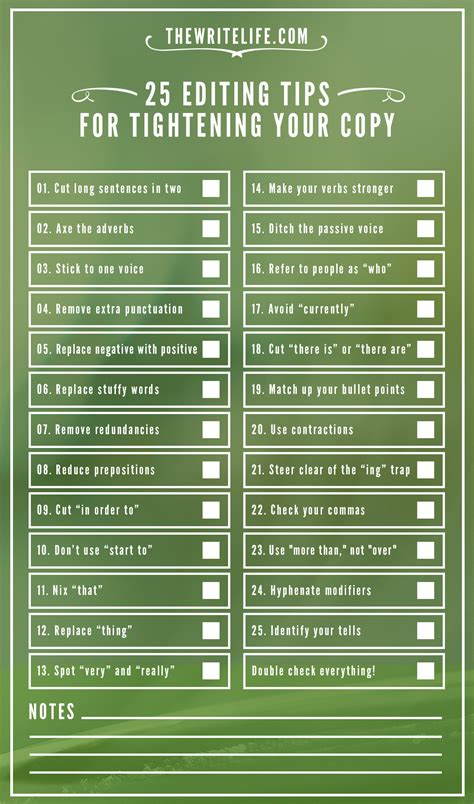 25 Editing Tips For Tightening Your Copy Now A Printable