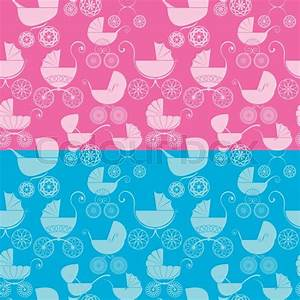 Set of seamless pattern with buggy on pink and blue ...