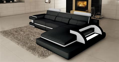 deco in 1 canape d angle cuir noir et blanc design