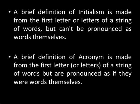 abbreviation initialism  acronym