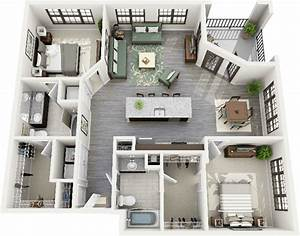 50 Plans 3D d'appartement avec 2 chambres Design