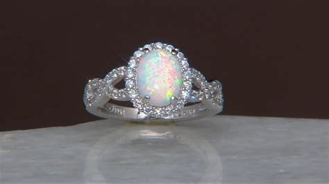 Opel Ring by Diamonique And Synthetic Opal Ring Sterling On Qvc