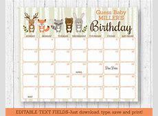 Woodland Animals Baby Due Date Calendar Editable PDF eBay