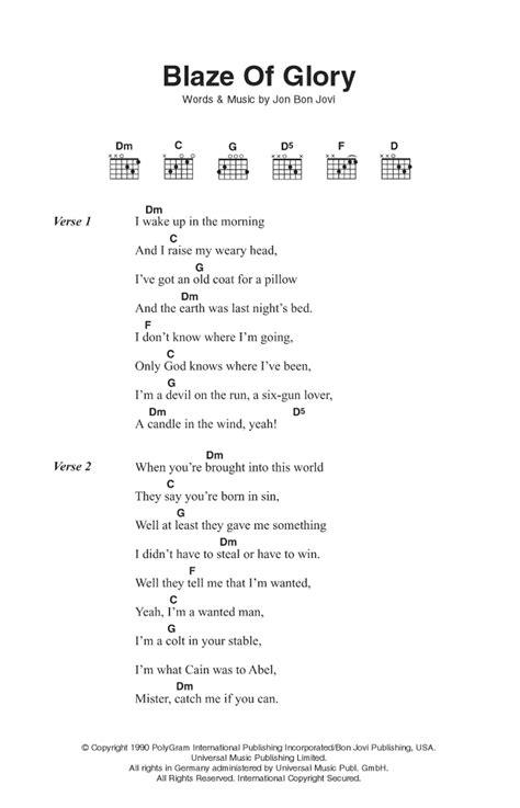 Blaze Glory Sheet Music Bon Jovi Guitar Chords Lyrics