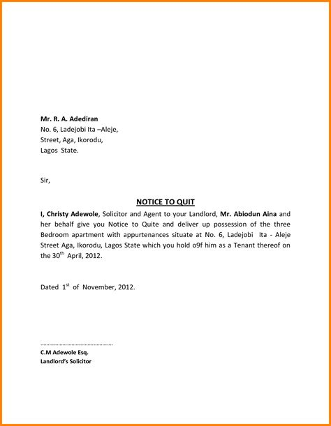 write  letter leaving  apartment vision